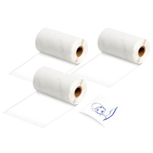 Aibecy 3 Rolls Self-Adhesive Thermal Paper Blue on White 53mm*3meters Compatible with Phomemo M02/M02S Thermal Printers