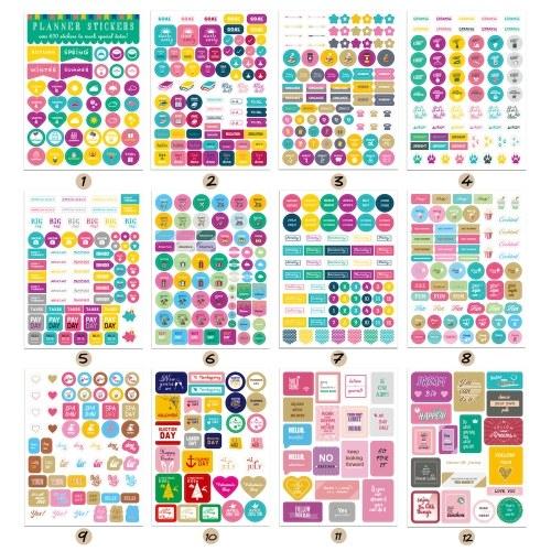 12 fogli Essentials Planner Sticker settimanale ogni giorno