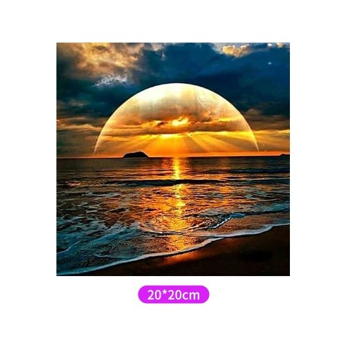 DIY 5D Diamond Painting Kit Sonnenuntergang Strand Muster