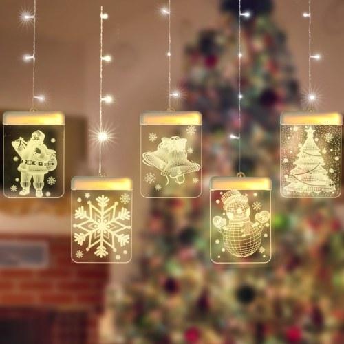 Luci per tende a LED per feste di Natale Decorazione con effetti visivi 3D Alimentato tramite USB