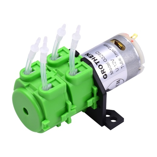 GROTHEN Peristaltic Pump Double Head DC 12V/24V Dosing Pump Micro-circulating Pump Mute Water Self-Priming Pump with Food Grade Silicone Tube for Aquarium Lab Chemical Analysis, L Panel