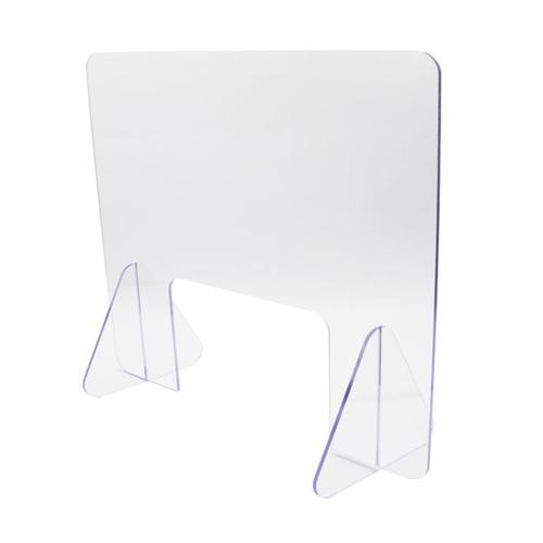 Schermo di protezione da tavolo Pannello protettivo antispruzzo Barriera divisoria in acrilico trasparente 15,7x15,7 pollici con supporto di base per reception ufficio cassiere reception