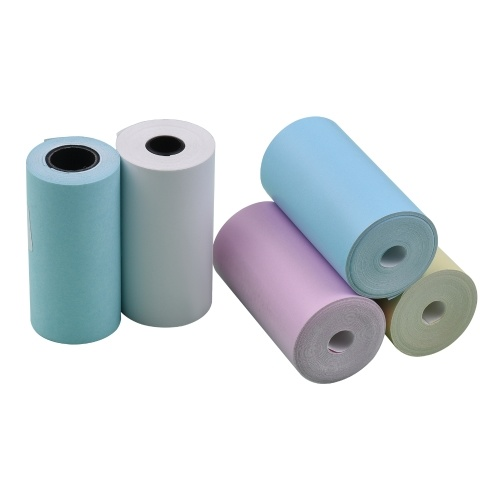 Conjunto de rolo de papel térmico colorido 5 unidades