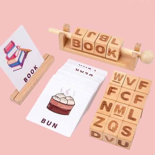 Wooden Letter Blocks Moveable Spinning Alphabet Matching Blocks Words Spelling Reading