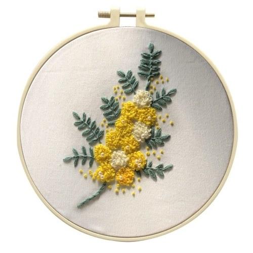 Stickset für Anfänger Kreuzstichsets enthalten europäische Stickerei-Spezialkleidung mit Blumenmuster-Stickrahmen und Nadeln