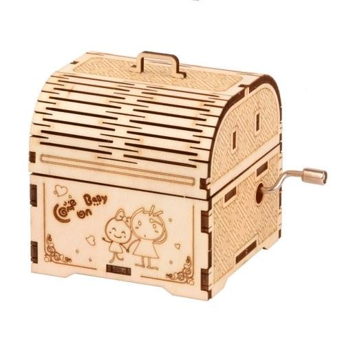 3D Holzpuzzle Spieluhr Handkurbel Holz Musikalische Schatzkiste DIY Selbstmontage Handwerk Modellbausatz Dekoration Pädagogisches Bauset Geschenk für Studenten Jungen Mädchen Teens Erwachsene zum Bauen