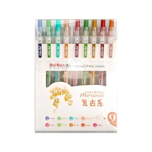 Juego de bolígrafos de tinta de gel de 9 colores, bolígrafos de gel de dibujo retráctiles, bolígrafo de 0,5 mm, plomo para escribir en el diario, tomar notas, colorear, escuela, oficina, artículos de papelería