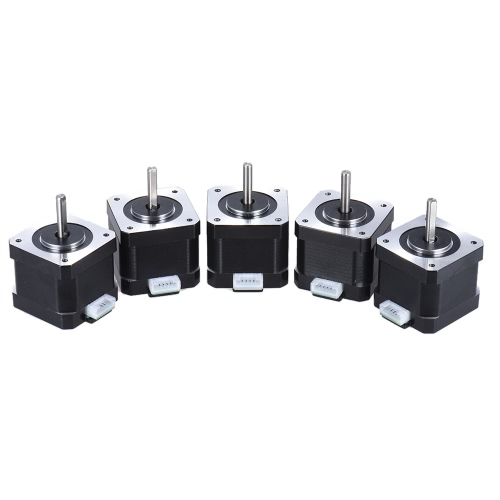 5pcs Nema 17 Stepper Stepping Motor Drive Control 2 Phase 1.8 Degree 0.9A 0.4N.M 42mm with Lead Cable 3D Printer/CNC Accessory Replacement