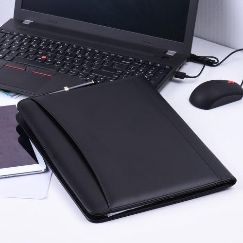 Couro multifuncional Negócios Portfolio Padfolio pasta Document Organizer Caso A4 PU com Suporte do cartão Memo Anotações