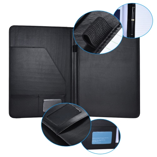 Multifunctional Business Portfolio Padfolio Folder Document Case Organizer A4 PU Leather with Business Card Holder Memo Note Pad, TOMTOP  - buy with discount