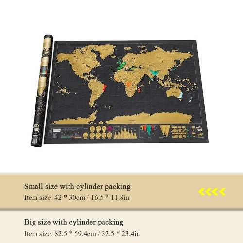 Scratch Off World Travel Map Small Size With Cylinder Packing
