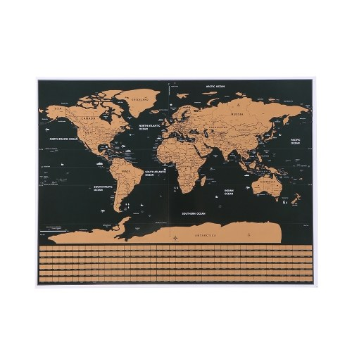 Scratch Off World Travel Map Poster Copper Foil Wall Sticker Personalized Journal Log Small Size without Cylinder Packing