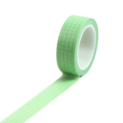 15mm×10m Grid Printed Pattern Pure Color Washi Tape Sticky Adhesive Paper