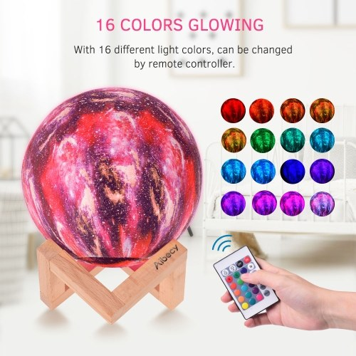 Aibecy LED Moon Lamp Moon Night Light 3D Printed Large Lunar Lamp with Stand USB Cable 16 Glowing Colors Remote Control & TouchControl Rechargeable Brightness Adjustable Home Light for Children Women Halloween Christmas Birthday Gifts Diameter 10cm/3.9in, TOMTOP  - buy with discount
