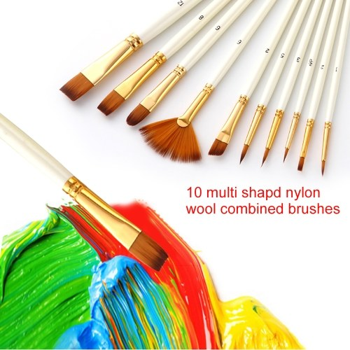 10pcs pinceaux Set Kit plusieurs médiums brosses avec des cheveux en nylon pour l'artiste acrylique Aquarelle Gouache peinture à l'huile d'aquarelle pour grand Art fournitures de dessin