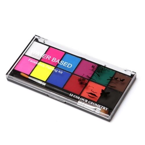 Kit professionale per pittura viso e corpo 12 colori a base d'acqua lavabili