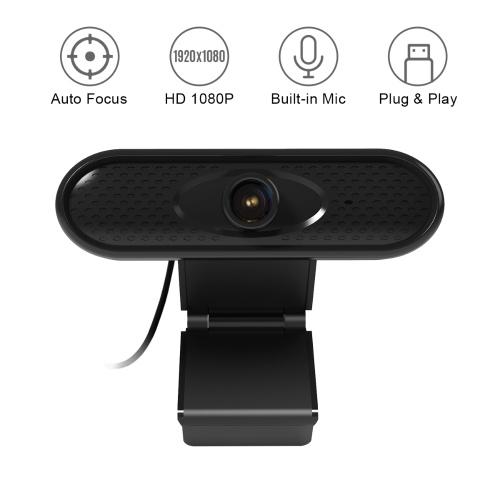USB Computer Webcam Videocamera Web HD 1080P Microfono incorporato per la riduzione del rumore con base a clip per PC Laptop Desktop Videochiamate Registrazione Home Office Conferenze Streaming live Insegnamento online