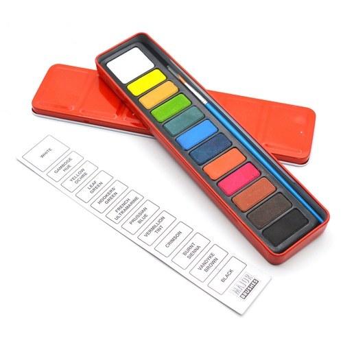Set di colori ad acquerello portatile 12 colori assortiti pigmento solido color acqua