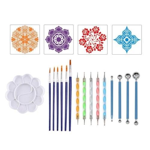 Набор из 20 предметов, инструменты для расставления точек мандалы, DIY трафареты для рисования, шариковая палитра, палитра, кисти для рисования, камни, раскраска, рисование, товары для рукоделия