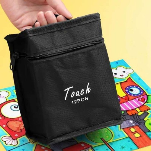 Child Painting Pen Student Cartoon 12 Color Mark Pen Packed Black Pocket
