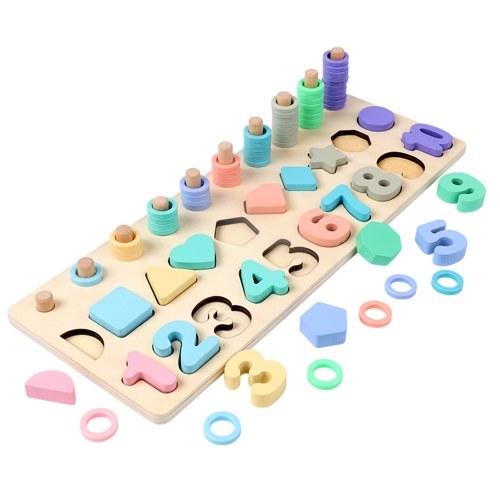 Lavagna logaritmica con puzzle numerico in legno 3 in 1