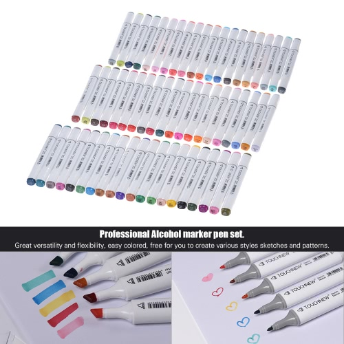60 Colors Dual Twin Tip Marker Marking Pens Art Sketch Highlighters for Colorful Graphic Drawing Coloring Painting Highlighting Underlining