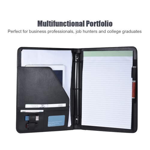 Professional Business Portfolio Padfolio Folder Document Case Organizer A4 PU Leather with Business Card U Flash Disk Holder Memo Note Pad Loose-leaf Loop, TOMTOP  - buy with discount