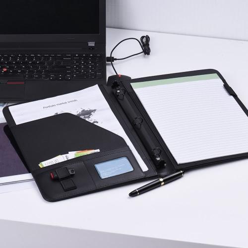 Couro Professional Business Portfolio Padfolio pasta Document Organizer Caso A4 PU com cartão U Flash Disk suporte do memorando Anotações de folha solta loop