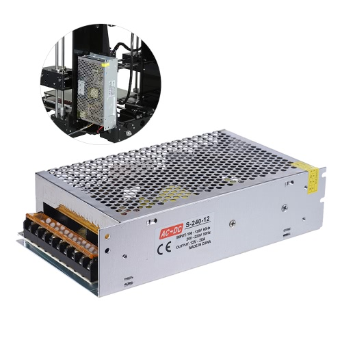 AC 110V / 220V a 12V DC 240W 20A Fuente de alimentación conmutada de doble entrada del Monitoreo Centralizado Adaptador del transformador para el kit de impresora 3D Reprap