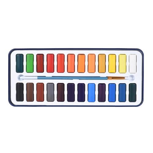 24 cores sólidas pintura aquarela pigmento conjunto com pincel caixa de metal para artistas estudantes desenho pintura arte suprimentos