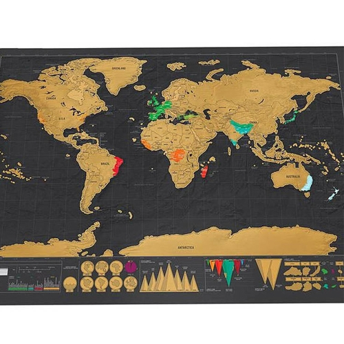 Scratch Off World Travel Map Klein ohne Zylinderpackung