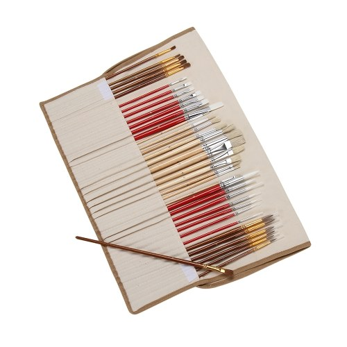 38Pcs Set di pennelli PaintBrushes Starter Kit include Taklon / setole / spazzole a pelo di cavallo per olio acrilico Acquerello Gouaches Pittura Forniture per artisti