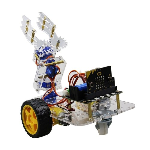 Micro:bit Mechanical Arm Smart Robot Car DIY Kit Support Graphical Programming STEM Educational Tool Toy with BT for Children Students Adults