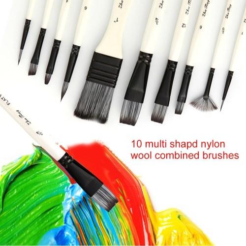 10 stücke Pinsel Set Kit Mehrere Medien Pinsel mit Nylonhaar Tragetasche für Künstler Acryl Aquarell Gouache Ölgemälde für Große Kunst Zeichnung Liefert