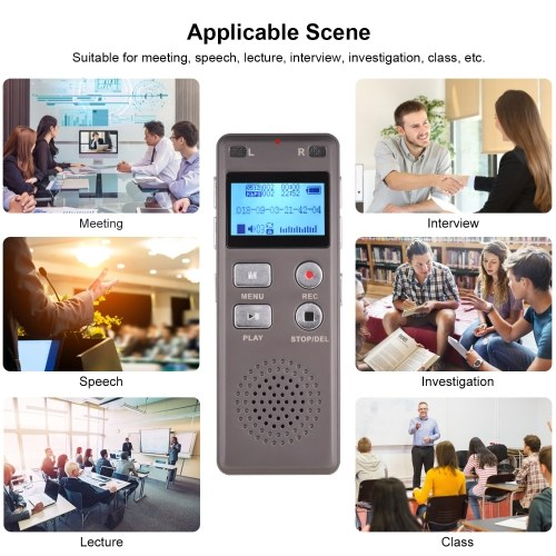Professional Digital Voice Sound Recorder MP3 Music Player One-Button Recording Voice-Activated Support Recording Monitor Telephone Recording with Loudspeaker 8GB Capacity for Meeting Lecture Interview фото