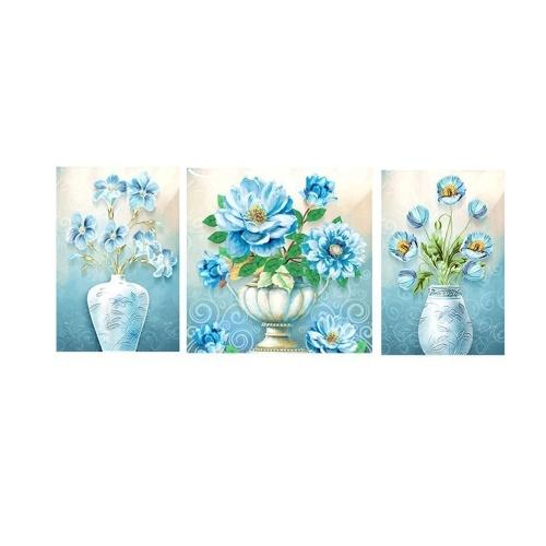 DIY 5D Diamond Painting Kit für Erwachsene & Kinder Triptychon Blumenvase Muster Full Diamond