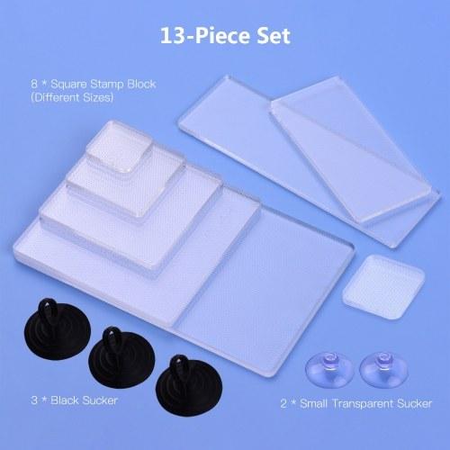 13 Pieces Set Transparent Acrylic Stamp Blocks Handle Block Tools