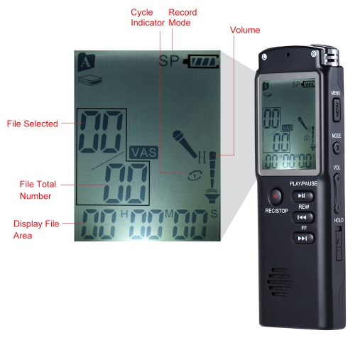 SK-301 8GB 1536Kbps Audio Voice Recorder MP3 Music Player Dictaphone Voice Activate(VAR) A-B Repeating Telephone Conversation Recording OS0124