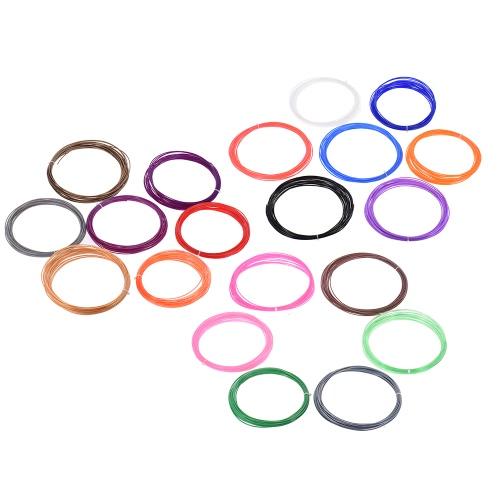 200m / 656,2 pé 3D Pen Impressão PLA filamentos Refill 1,75 mm Environmentally Friendly Presente de Natal das crianças (20 cores sortidas enviado de forma aleatória)