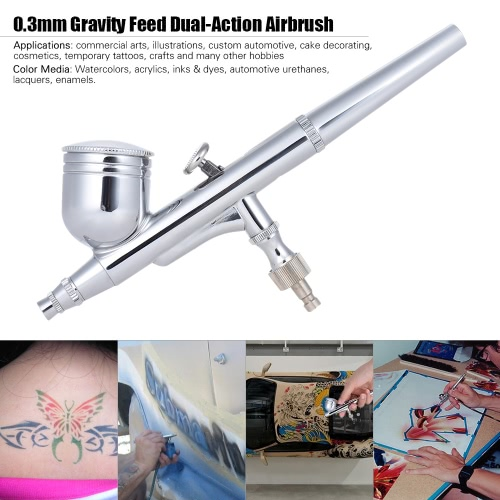 0.3mm Gravity Feed Dual-Action Airbrush Paint Spray Gun Kit with Nozzle Spanner & Dropper