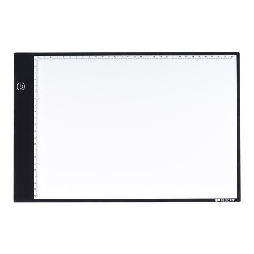 A4 Portátil Light Box Desenho Rastreamento Tracer Copy Board Placa de tabela Pad Painel com brilho de 3 modos Black Edge Escala para artista Animação Esboço Arquitetura Caligrafia Stenciling