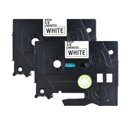 2pcs fita de etiqueta laminada em preto compatível para impressora de etiquetas Brother P-touch PT-1010 / PT-2100 / PT-18R / PT-E200 / PT-9500 9mm * 8m