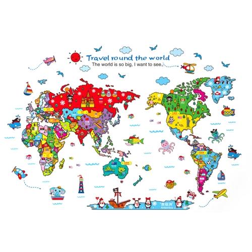 Colorful World Map Wall Sticker Desenhos animados Kids Room Decal PVC Mural Art Decor para crianças Quarto / Sala de estar / Corredor / Escritório