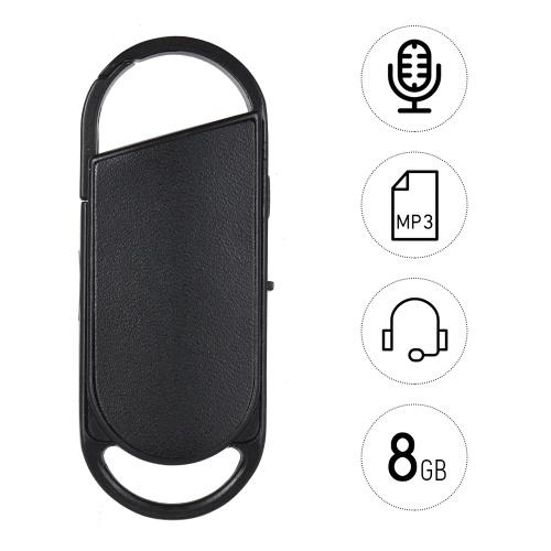 8GB Портативный диктофон USB-диск Стиль ключа Аудио-диктофон MP3-плеер Перезаряжаемый фото