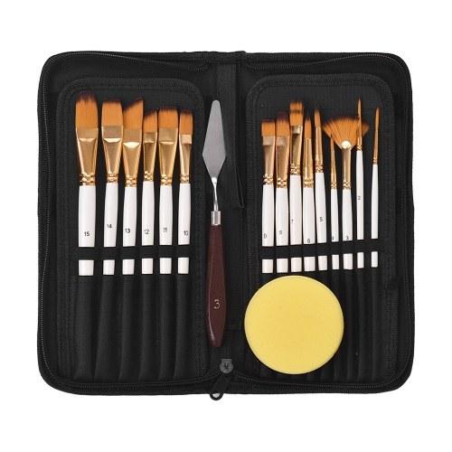 Набор кистей для художника 15 различных форм и размеров Кисти для дерева Деревянные ручки Без навесов с бесплатной покраской Нож и губка для креативной краски для тела Акриловые краски