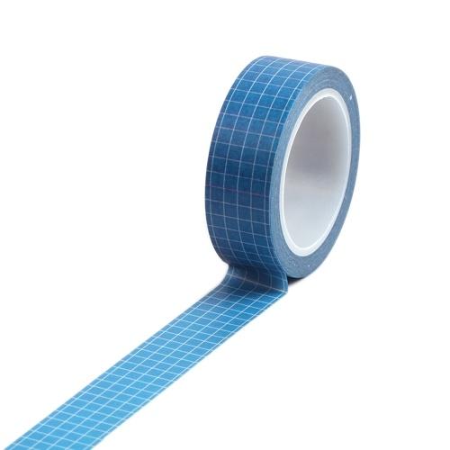 Carta adesiva adesiva con nastro Washi di colore puro con motivo a griglia di 15mm × 10m
