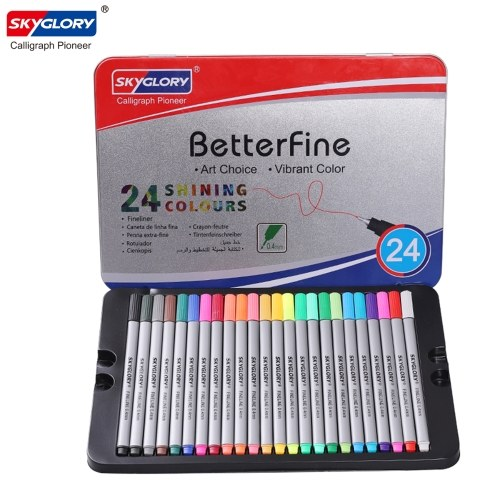 Set pennarelli a punta fine SKYGLORY Fineliner 0,4 mm, 24 colori assortiti