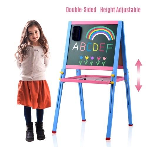 Lavagna magnetica per bambini in legno massello Lavagna magnetica su due lati e lavagna Lavagna in piedi regolabile con ripiano e accessori per bambini Bambini Ragazzi e ragazze