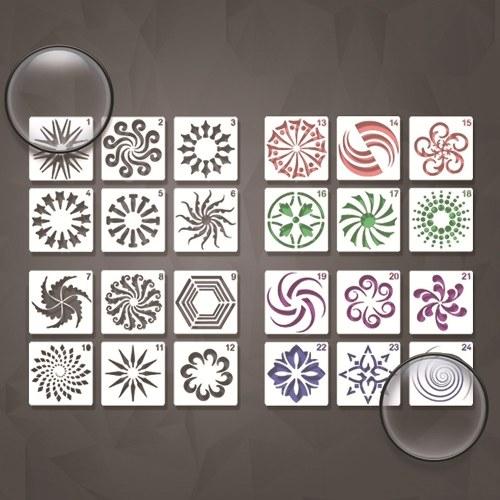 24 pezzi di stencil per fiori 130 * 130 mm modelli in PET Design scava fuori fai da te