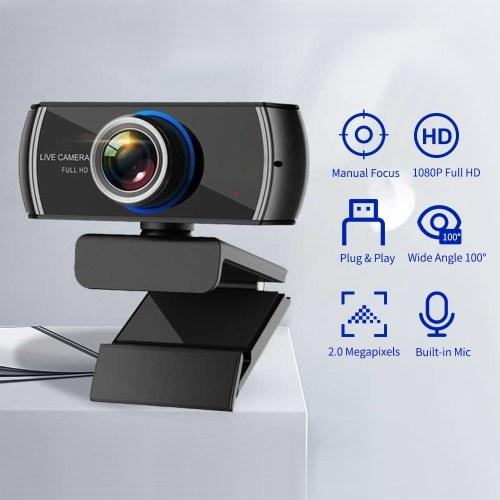 1080P HD Streaming Webcam USB Computer Video Camera 2 Megapixels 100° Wide Viewing Manual Focus